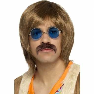 Goedkoop abba heren verkleed pruik snor bril setje heren carnavalskleding