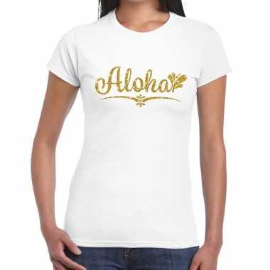 Goedkoop aloha goud glitter t shirt wit dames carnavalskleding