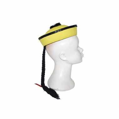 Goedkoop aziatisch hoedje geel vlechtje carnavalskleding