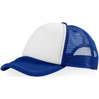 Goedkoop baseballcap blauw/wit carnavalskleding