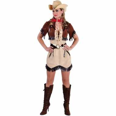 Goedkoop beige cowgirl jurk bolero dames carnavalskleding