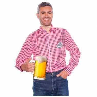 Goedkoop bierfest overhemden mannen rood wit carnavalskleding