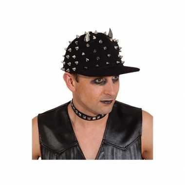 Goedkoop biker pet zwart spikes carnavalskleding