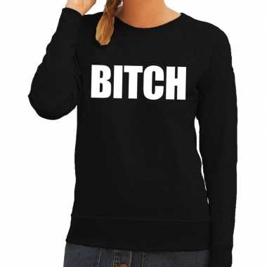Goedkoop bitch tekst sweater / trui zwart dames carnavalskleding