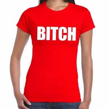 Goedkoop bitch tekst t shirt rood dames carnavalskleding