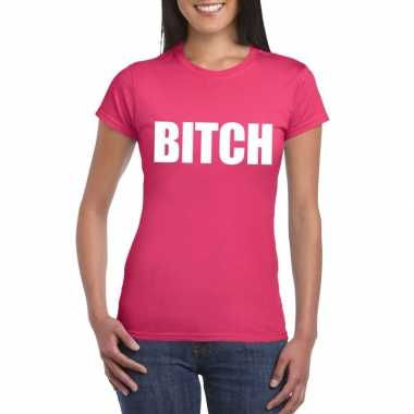 Goedkoop bitch tekst t shirt roze dames carnavalskleding