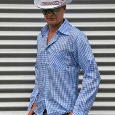 Geruit Overhemd Heren.Goedkoop Blauw Geruit Cowboy Overhemd Heren Carnavalskleding