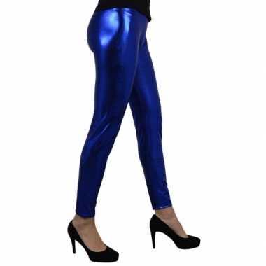 Goedkoop blauw metallic legging carnavalskleding