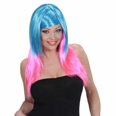 Goedkoop blauw roze pruik dames carnavalskleding