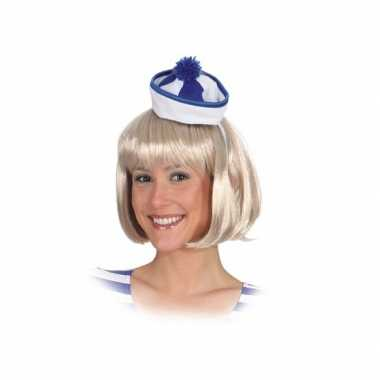 Goedkoop blauw wit matrozen hoedje carnavalskleding
