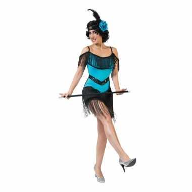 Goedkoop blauw/zwart jaren jurkje dames carnavalskleding