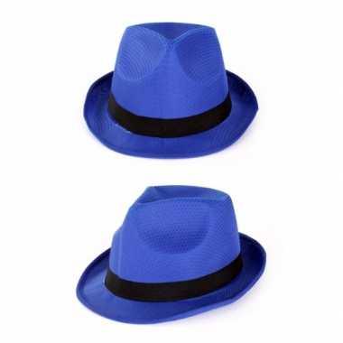 Goedkoop blauwe gangster gleufhoedjes carnavalskleding