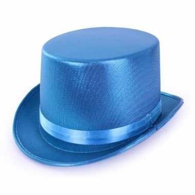 Goedkoop blauwe glimmende hoge hoed volwassenen carnavalskleding
