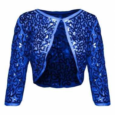 Goedkoop blauwe glitter pailletten disco bolero jasje dames carnavals