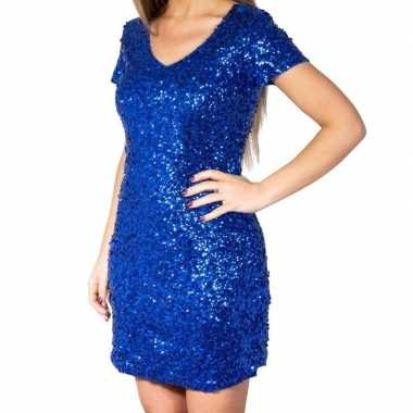 Goedkoop blauwe glitter pailletten disco jurkje dames carnavalskledin