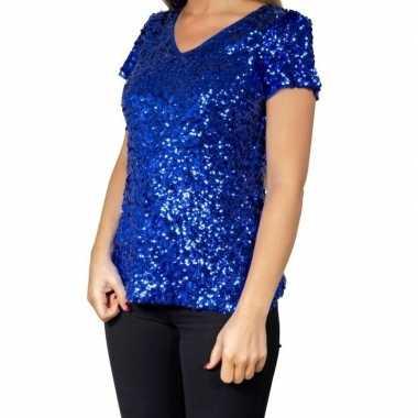 Goedkoop blauwe glitter pailletten disco shirt dames carnavalskleding