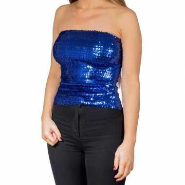 Goedkoop blauwe glitter pailletten disco strapless topje/ shirt dames