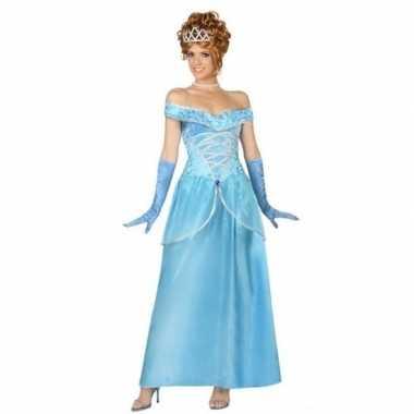 Goedkoop blauwe prinsessen verkleed jurk dames carnavalskleding