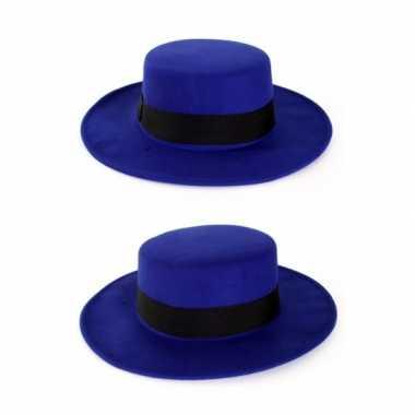 Goedkoop blauwe spanjaard hoed carnavalskleding