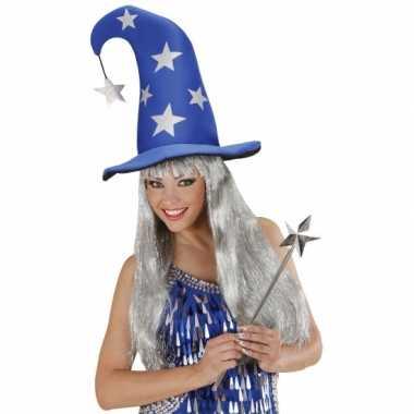 Goedkoop blauwe tovenaarshoed sterren carnavalskleding