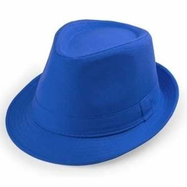 Goedkoop blauwe trilby hoedjes volwassenen carnavalskleding