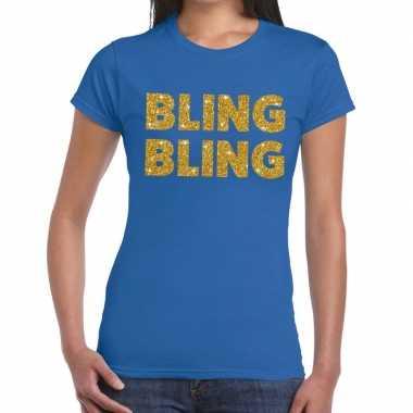 Goedkoop bling bling glitter tekst t shirt blauw dames carnavalskledi