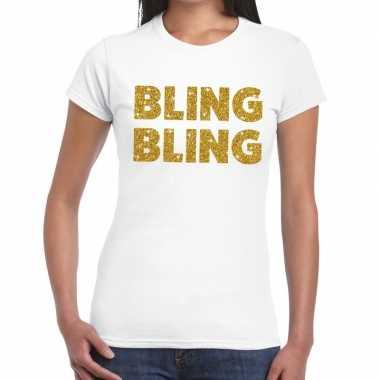 Goedkoop bling bling glitter tekst t shirt wit dames carnavalskleding