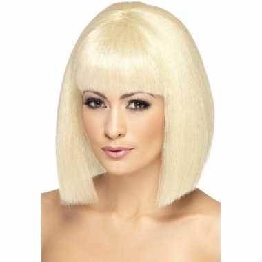 Goedkoop blonde dames pruik stijl haar carnavalskleding
