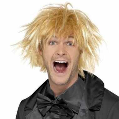 Goedkoop blonde warrige pruik heren carnavalskleding