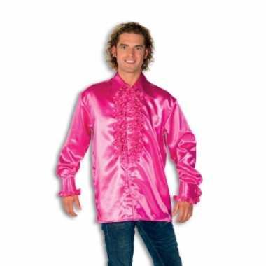 Goedkoop blouse roze rouches heren carnavalskleding