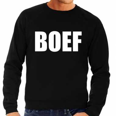 Goedkoop boef tekst sweater / trui zwart heren carnavalskleding