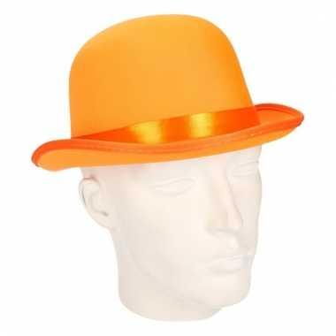 Goedkoop bolhoedje oranje volwassenen carnavalskleding