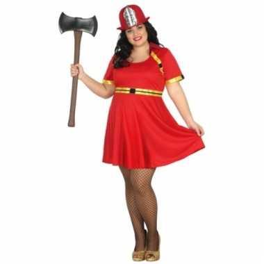Goedkoop brandweer jurkje grote maat dames carnavalskleding
