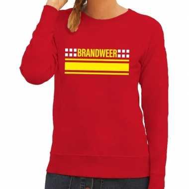 Goedkoop brandweer logo sweater rood dames carnavalskleding