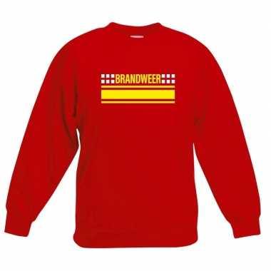 Goedkoop brandweer logo sweater rood kinderen carnavalskleding