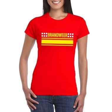 Goedkoop brandweer logo t shirt rood dames carnavalskleding