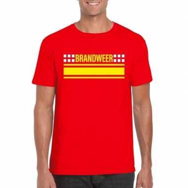 Goedkoop brandweer logo t shirt rood heren carnavalskleding