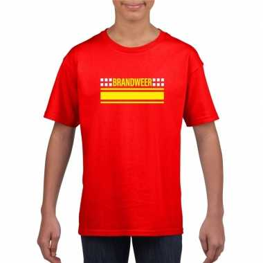 Goedkoop brandweer logo t shirt rood kinderen carnavalskleding