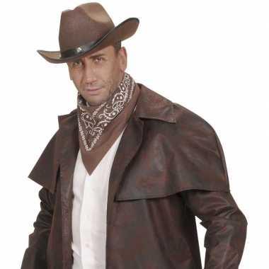 Goedkoop bruin cowboy sjaaltje wilde westen thema carnavalskleding