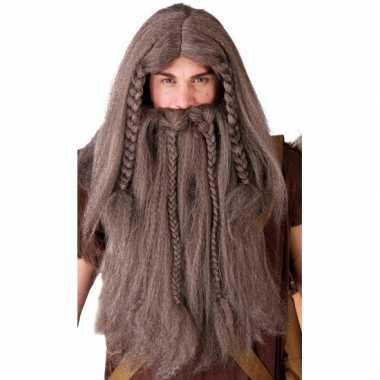 Goedkoop bruine noordmannen pruik baard carnavalskleding