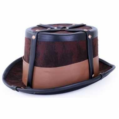 Goedkoop bruine steampunk hoed carnavalskleding