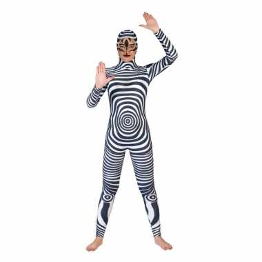 Goedkoop carnaval catsuit zebra print volwassenen carnavalskleding