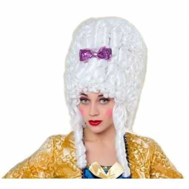 Goedkoop carnaval dames pruik hofdame wit carnavalskleding