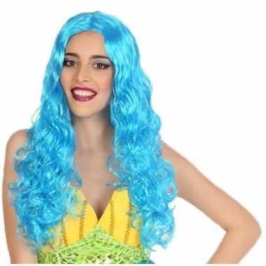Goedkoop carnaval dames pruik zeemeermin blauw carnavalskleding