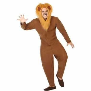 Goedkoop carnaval dieren carnavalskleding bruine leeuw volwassenen
