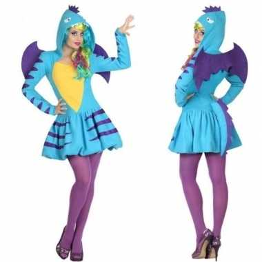Goedkoop carnaval feest blauwe draak verkleed carnavalskleding dames