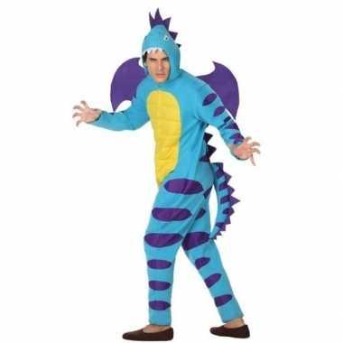 Goedkoop carnaval/feest blauwe draak verkleed carnavalskleding volwas