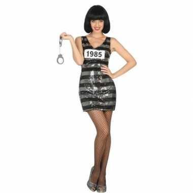 Goedkoop carnaval/feest boeven/gevangenen verkleedcarnavalskleding jurkje ann zwarte/zilveren pailletten dames