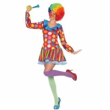 Goedkoop carnaval/feest clown verkleed jurkje dames carnavalskleding