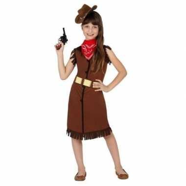 Goedkoop carnaval feest cowboy cowgirl verkleedcarnavalskleding bruin meisjes